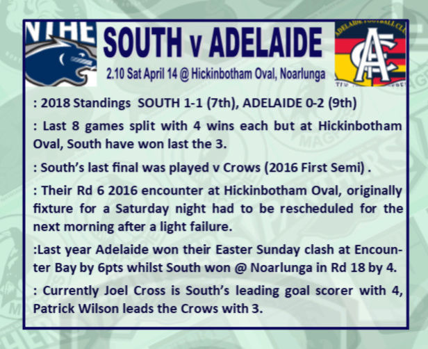 Round 3: South v Adelaide - Saturday 14 April @ Hickinbotham Oval Rd_3_s11