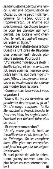 Interview dans Paris Courses Captur51