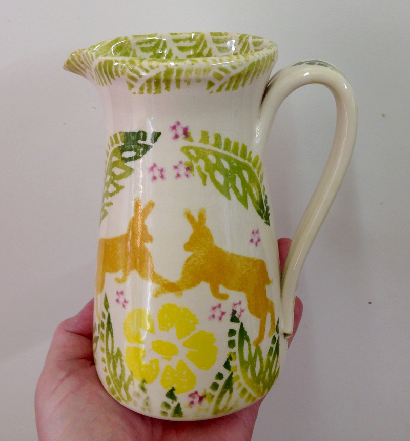 Spongeware jug with rabbits - Paddy Peters, Old Piggery Pottery?  Img_1723