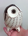 Unknown pottery owl money box  Img_5520
