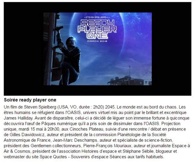 15 mai 2018 - Soirée ciné-débat Ready player one de Steven Spielberg à Ris-Orangis (91) Rpo_ci10
