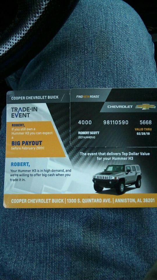 Coté state le concessionnaire Chevrolet vous envoie un avis pour racheter au meilleur prix votre Hummer 26112310
