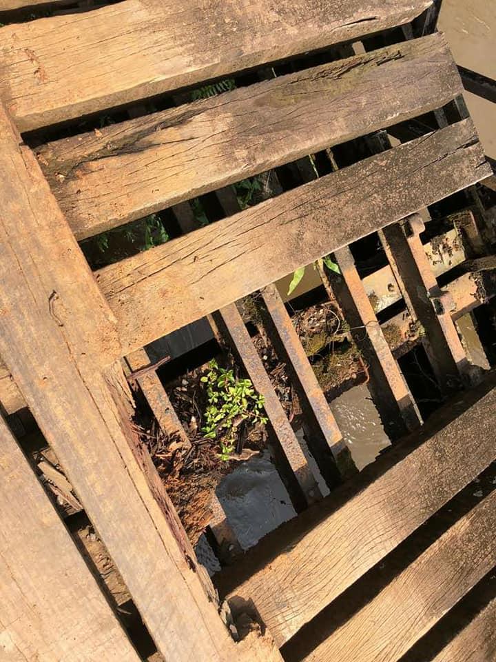 Hummer H2 du Club Humerbox dans les monts Crystal en pleine brousse du Gabon sur un pont en bois dans un état à frissonner pour faire passer ce mastodonte de presque 4 Tonnes  !!! 32533110