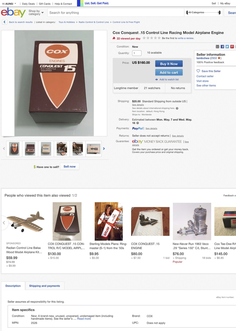 Cox Conquest, Why pay $148 when you can buy with $130? Funny eBay Bids Cox_co10