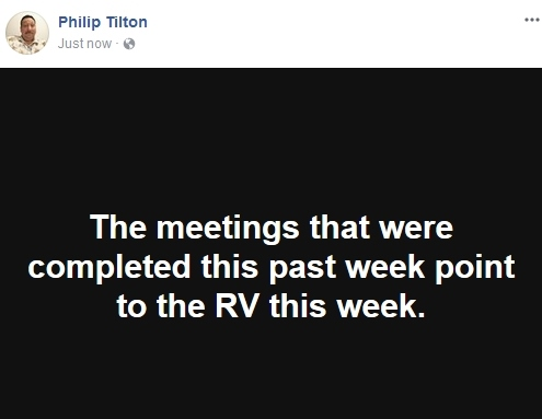 Philip Tilton thinks there is going to be an RV this week  10/23/17 2017-110