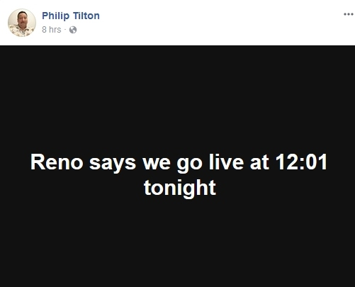 Philip Tilton says the RV Goes Live at 20:01 tonight....  10/31/17 2017-116