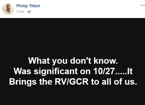 Sec - Philip Tilton  says the RV is being brought to us and it started Oct 27-- 11/1/17 2017-117