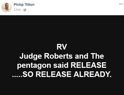 Philip Tilton - Pentagon Said RELEASE the RV!  1/13/18 2018-013