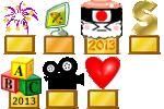 1e Concours Libre 14 Juillet + 3e Concours de Graphisme + Sushi Or 2013 + 1e Concours de Signature + Grand Champion Enigme du Mois 2013 d'Or + 1e Concours de Vidéo + 1e Concours Libre Saint Valentin