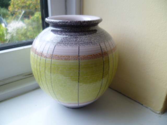 West Germany Pottery Vase with a more Italian style glaze - Beehive Mark P1270423