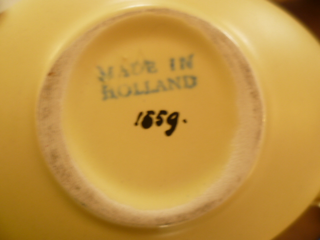 Dutch 1960's Eggshell Glaze Yellow Twisted Eliptical Wicker Handled Bowl P1280311