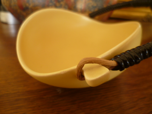 Dutch 1960's Eggshell Glaze Yellow Twisted Eliptical Wicker Handled Bowl P1280313