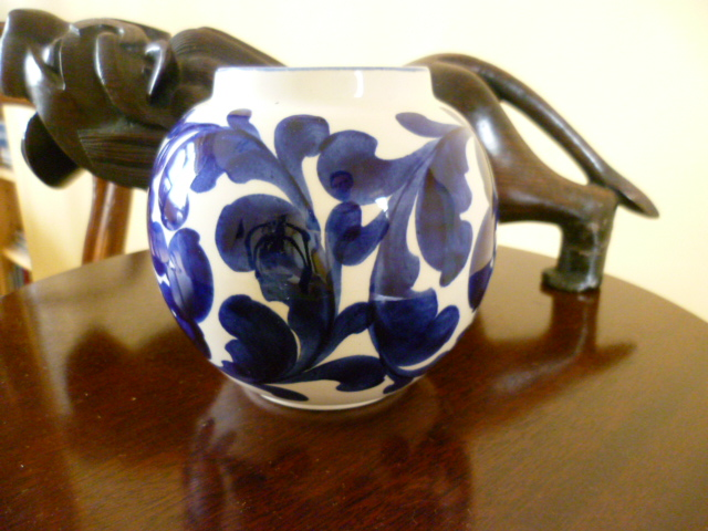 Pleasing Sphere Vase - Rad - Bristol Blue Scroll by CS A P1310819