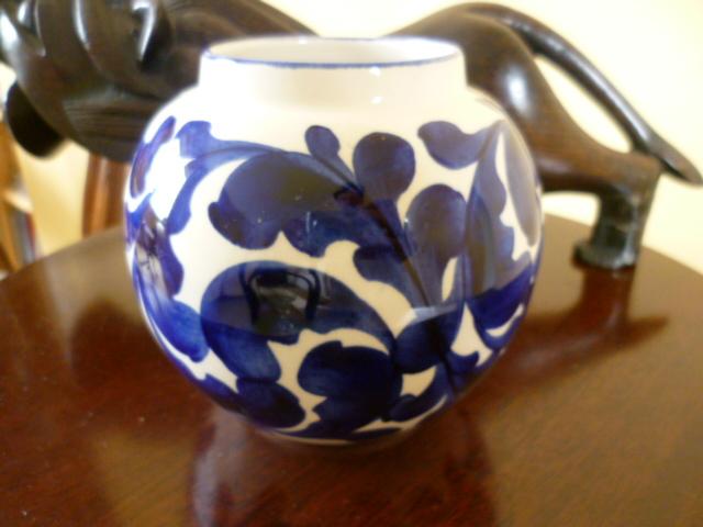 Pleasing Sphere Vase - Rad - Bristol Blue Scroll by CS A P1310820