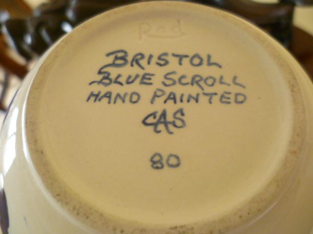Pleasing Sphere Vase - Rad - Bristol Blue Scroll by CS A P1310821