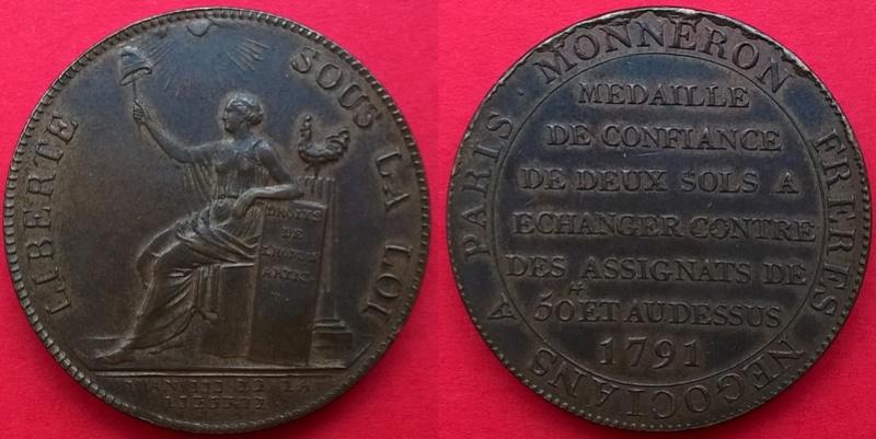 """DEUX-SOLS à la Liberté assise 1791 (""""A ECHANGER""""). Wp_20125"""