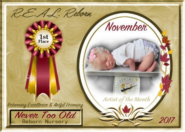 NOVEMBER AOTM CONTEST WINNER - PIA ALLEN of NEVER TOO OLD  Reborn Nursery Winner10