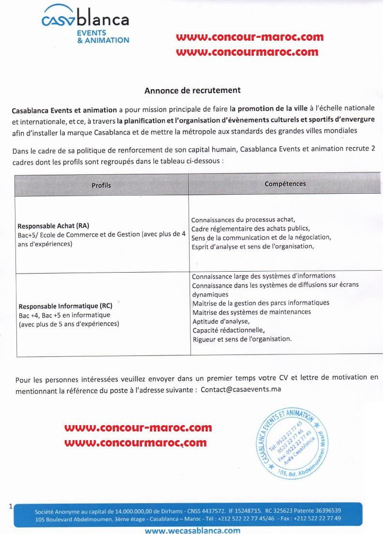 شركة التنمية المحلية الدارالبيضاء للتنشيط والتظاهرات : مباراة لتوظيف (بموجب عقد) مسؤول في المعلوميات و مسؤول عن المشتريات آخر أجل 2 ابريل 2018  Casaev10