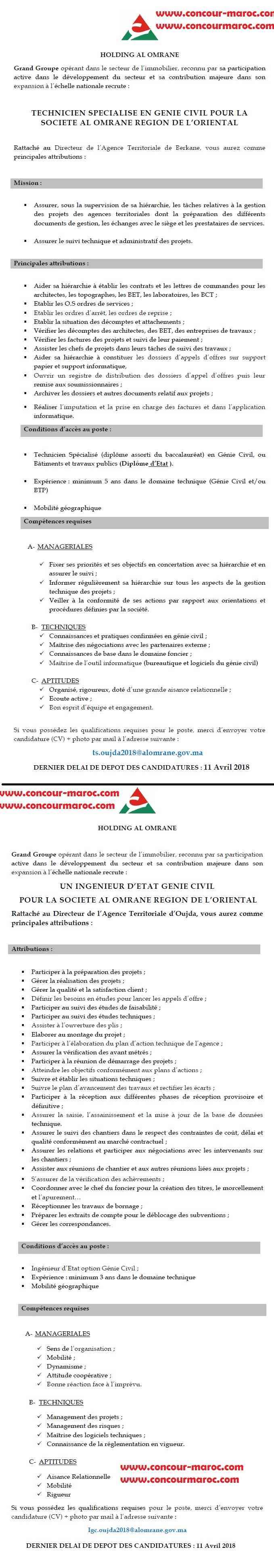 شركة العمران بالجهة الشرقية : مباراة لتوظيف تقني متخصص و مهندس دولة آخر أجل 11 ابريل 2018  Conco107