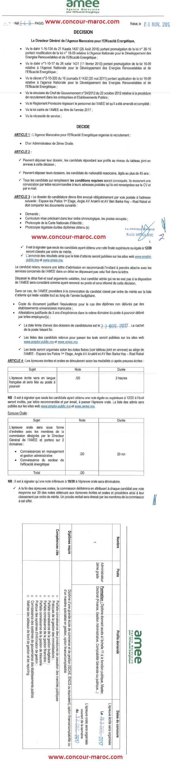 الوكالة المغربية للنجاعة الطاقية : مباراة لتوظيف متصرف من الدرجة الثانية آخر أجل 27 نونبر 2017 Concou51