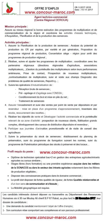 الشركة الوطنية لتسويق البذور - سوناكوس : مباراة لتوظيف عون تقني تجاري آخر أجل 29 نونبر 2017 Concou56