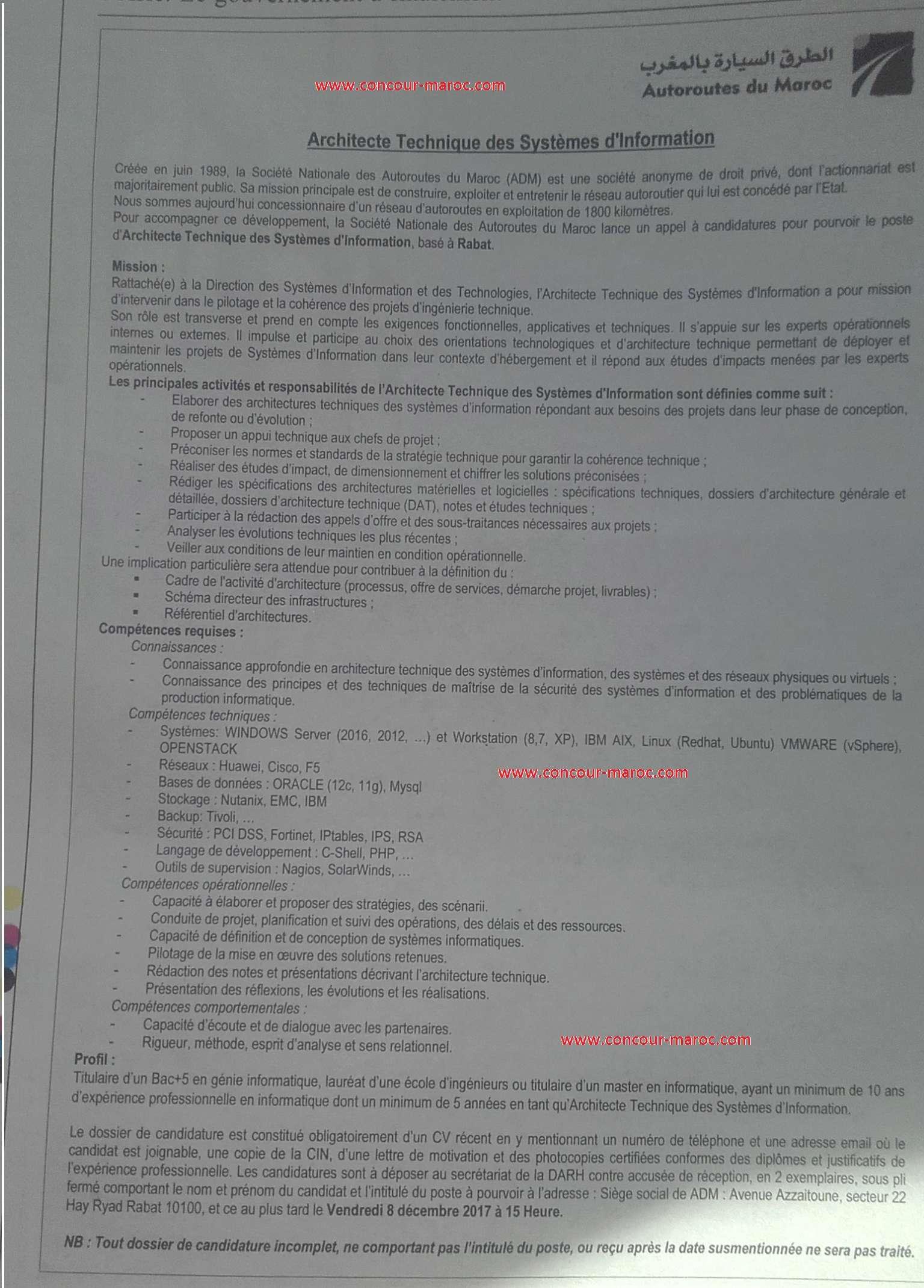 الشركة الوطنية للطرق السيارة بالمغرب : مباراة توظيف اطار عالي آخر أجل للترشيح 8 دجنبر 2017 Concou61