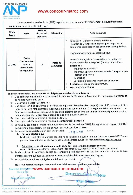 الوكالة الوطنية للموانئ : مباراة لتوظيف 08 اطر في مجال التقنين آخر أجل 8 دجنبر 2017 Concou66