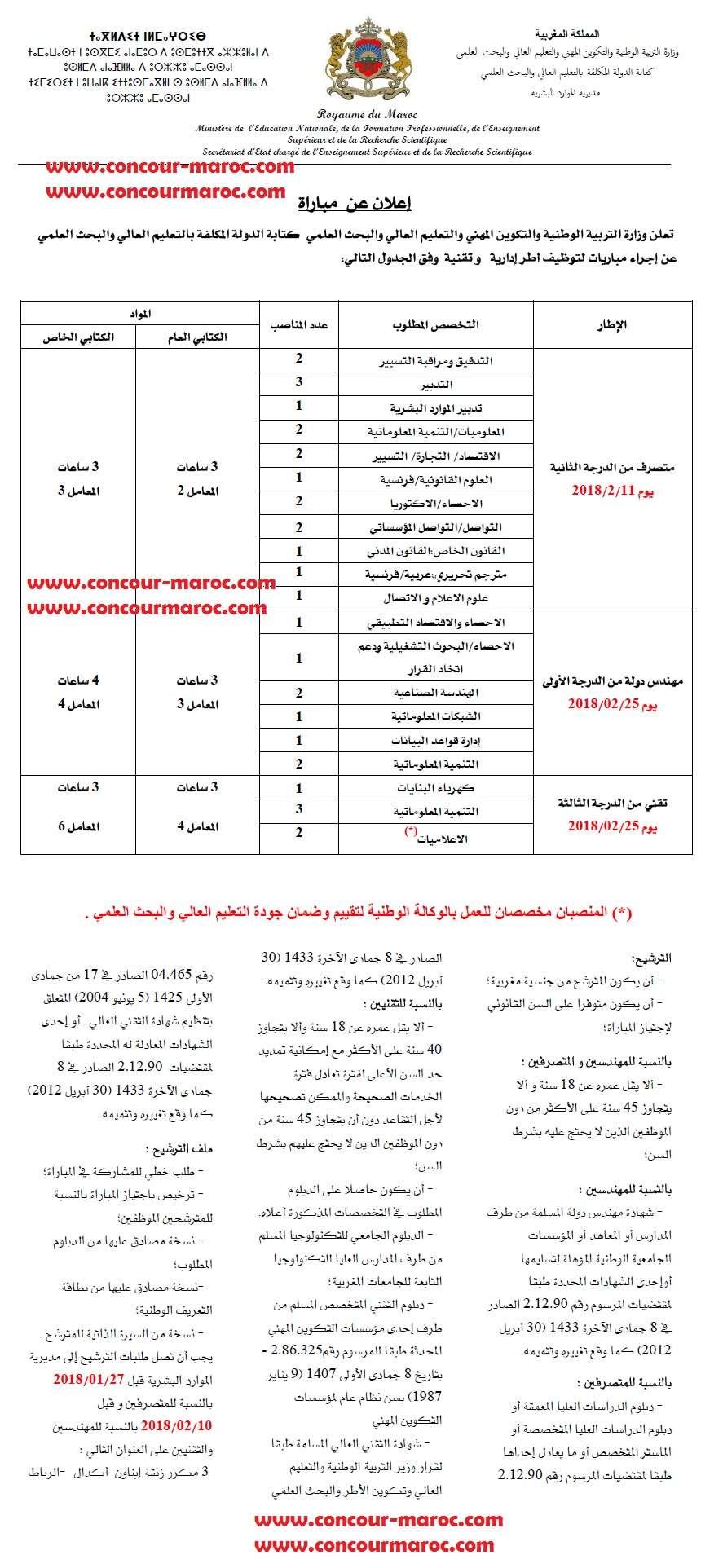وزارة التعليم العالي و البحث العلمي و تكوين الأطر : مباريات توظيف 32 منصب من تقنيين و اطر و مهندسين اخر اجل 27 يناير و 10 فبراير 2018    Enssup10