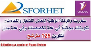 مكتب SFORHET بالتعاون مع ANAPEC : تكوين مجاني في عدة تخصصات بعدة مدن لتكوين 125 مترشح  Sforhe11