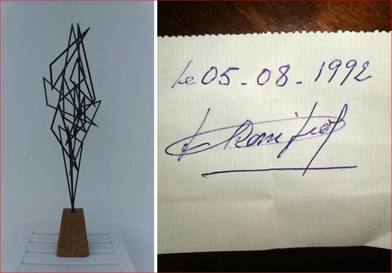 sculpture métallique sur socle pierre signature sur papier à déchiffrer. Captur17
