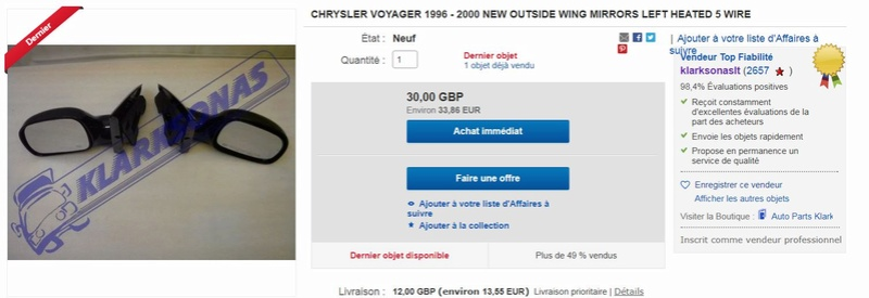 Recherche Miroir Rétroviseur gauche Grand Voyager  2.5TD 1999 Captu175