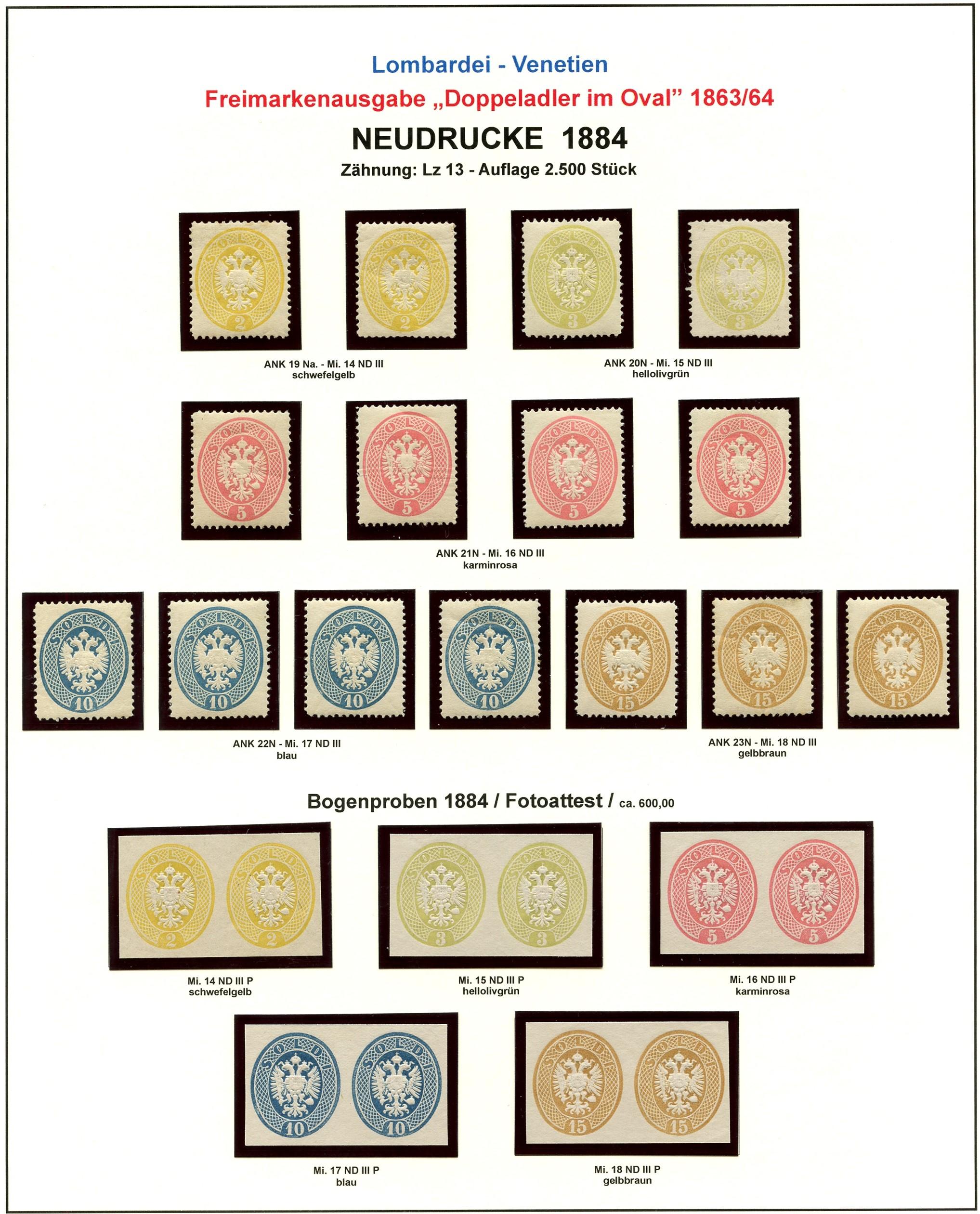 Lombardei-Venetien, Ausgaben 1863 und 1864 1884_l15