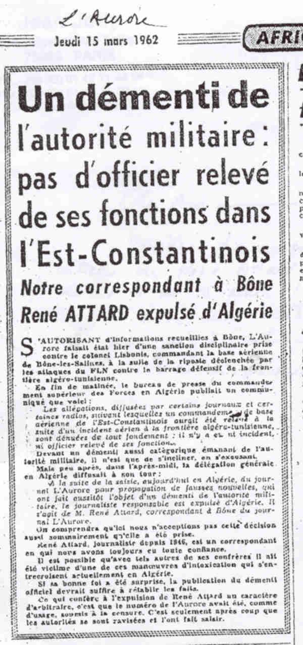 Peut-être l'ignoriez-vous!....sacrifice programmé d'une unité de jeunes appelés métropolitains. A.F.N. 9 MARS 1962   (ORDRE de De Gaulle d'abandon d'une compagnie  d'appelés du contingent ???? )  Aurore10