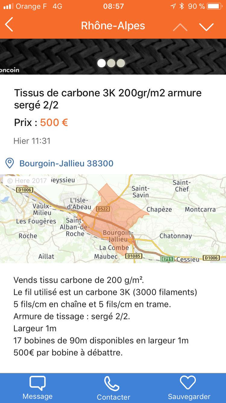 Carbone sergé 200g/m2 :  5 euros le m2 98edef10