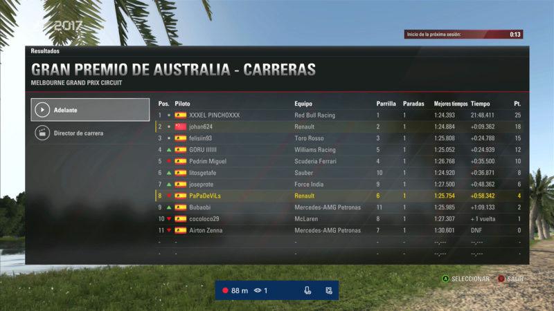 F1 2017 - XBOX ONE / CAMPEONATO OPEN LITOS - F1 XBOX / RESULTADOS Y PODIUM / G.P. DE AUSTRALIA + GP DE ABU DABI / MARTES 22 - 05 - 2018. Alitos10