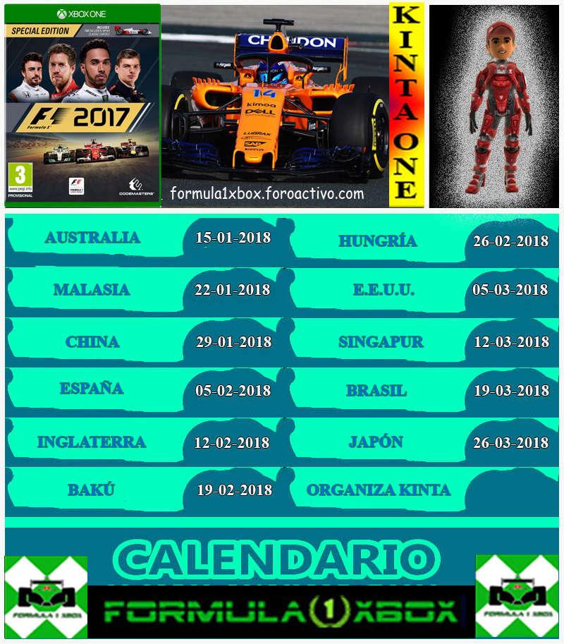 ¡ CAMPEÓN ! / F1 2017 / CAMPEONATO KINTA ONE - F1 XBOX / CAMPEÓN, PODIUM Y CLASIFICACIÓN FINAL.  Calend14