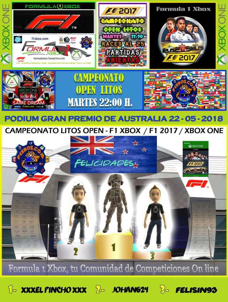 F1 2017 - XBOX ONE / CAMPEONATO OPEN LITOS - F1 XBOX / RESULTADOS Y PODIUM / G.P. DE AUSTRALIA + GP DE ABU DABI / MARTES 22 - 05 - 2018. Podium48
