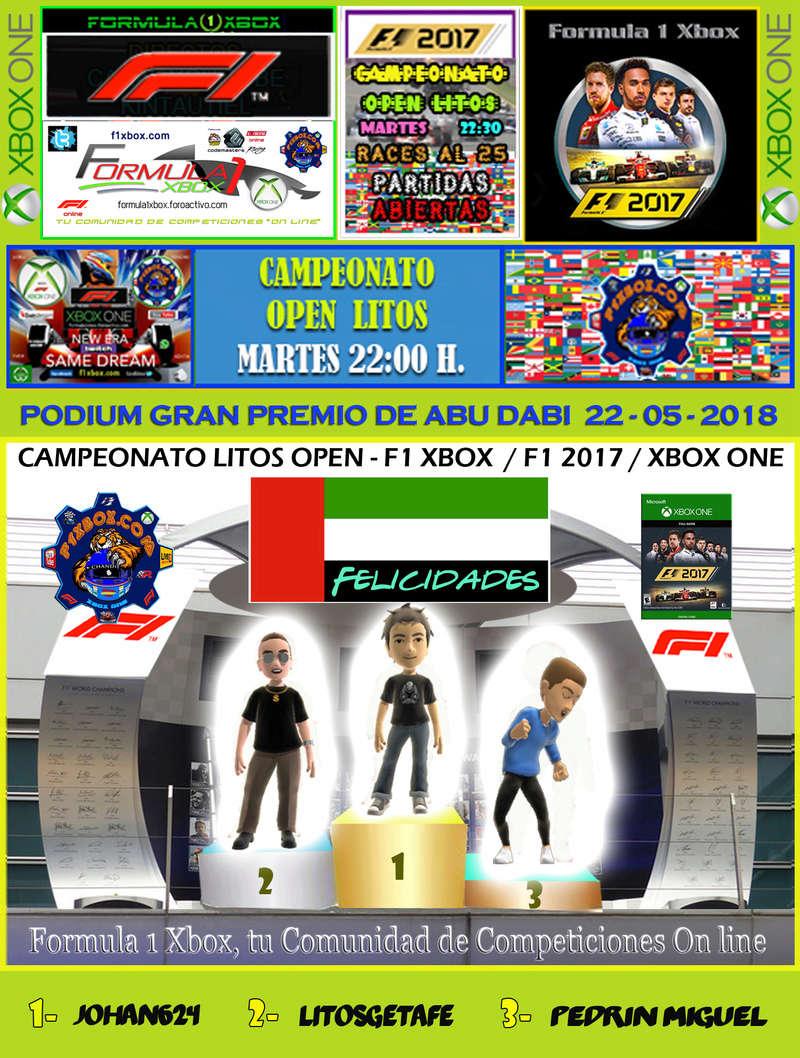 F1 2017 - XBOX ONE / CAMPEONATO OPEN LITOS - F1 XBOX / RESULTADOS Y PODIUM / G.P. DE AUSTRALIA + GP DE ABU DABI / MARTES 22 - 05 - 2018. Podium49
