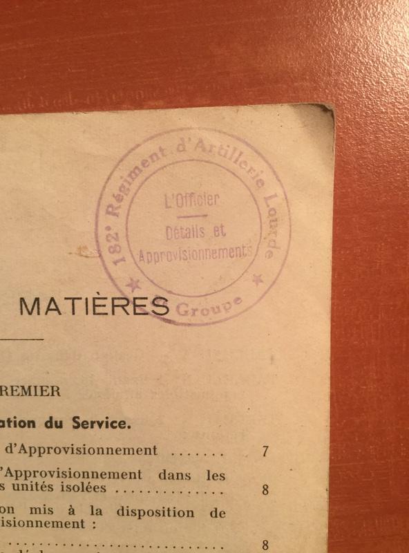 Aide mémoire pour officier d'approvisionnement - Edition 1939 A72e0810
