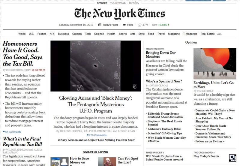 Le Pentagone a étudié les Ovnis dans le plus grand secret (New York Times, AATIP, TTSA, affaire Tic Tac etc...) Thenew10