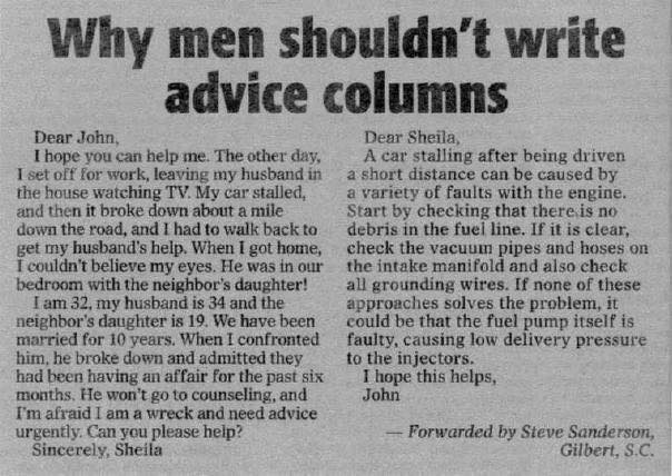 Why men shouldn't write advice columns Whymen10