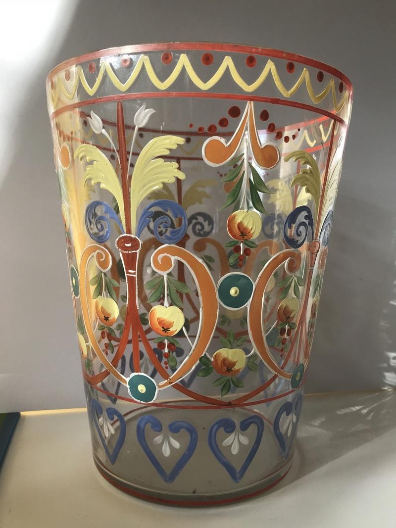 V Old Large enamelled Ice Bucket vase? Wheres it from?! Img_8118