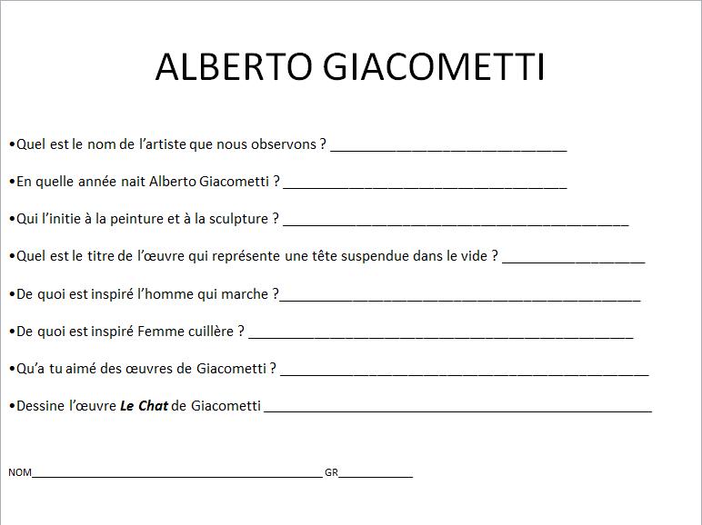ALBERTO GIACOMETTI (apprécier) premier cycle  Gia_810