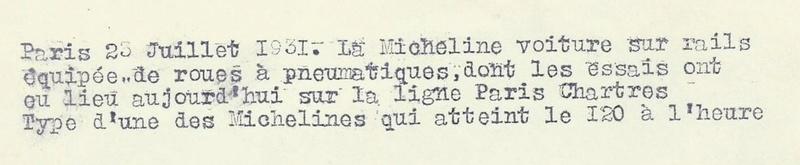 Paris-Chartres 23 juillet 1931 la Micheline voiture sur rail équipée de roues pneumatiques 615_0012