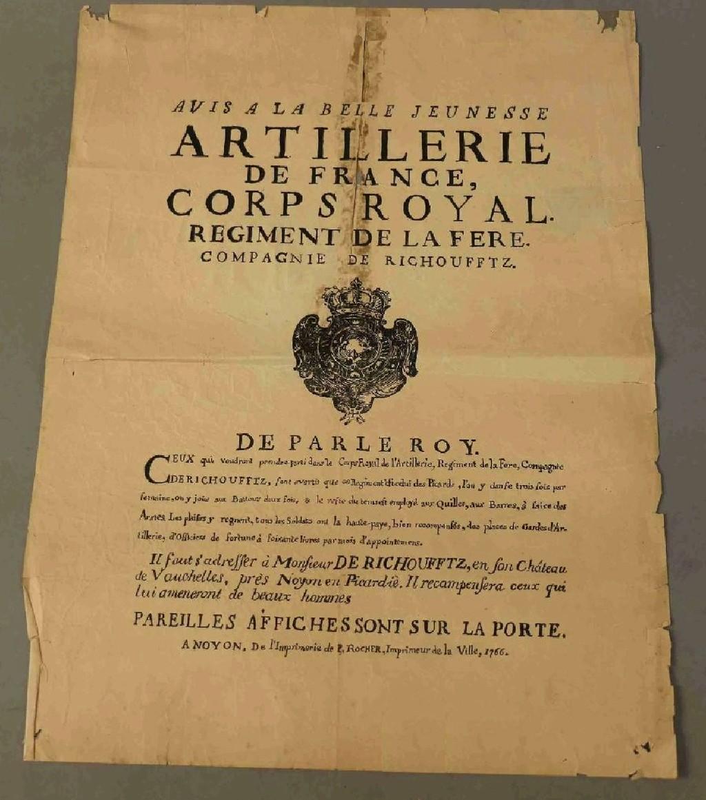 Exemple d'affiche de recrutement (PICARDIE 1766 Régiment d'Artillerie de Richoufftz) Aff110