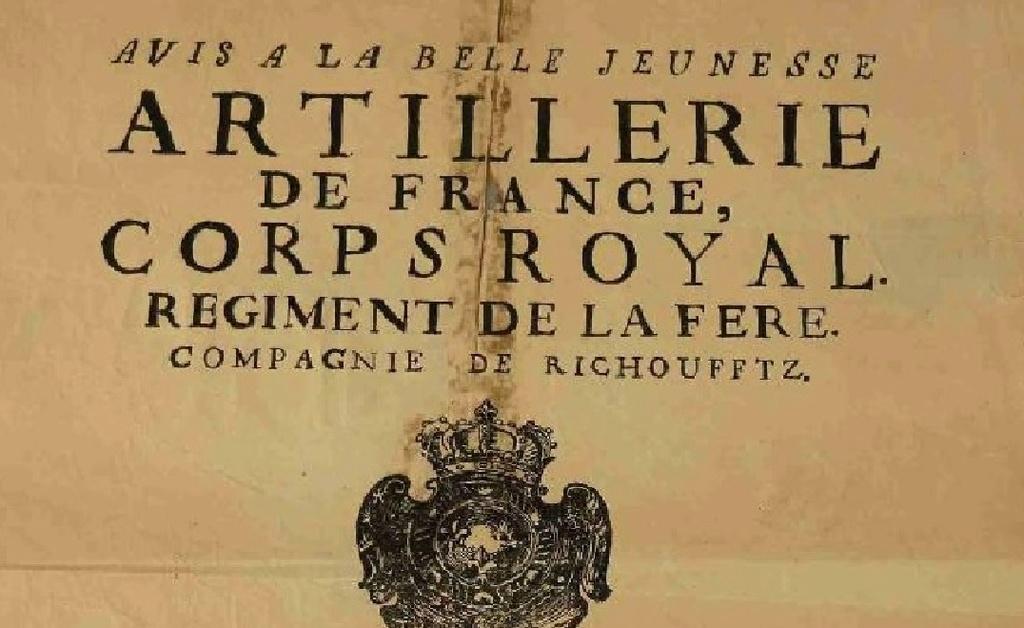 Exemple d'affiche de recrutement (PICARDIE 1766 Régiment d'Artillerie de Richoufftz) Aff210
