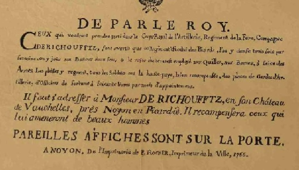 Exemple d'affiche de recrutement (PICARDIE 1766 Régiment d'Artillerie de Richoufftz) Aff310