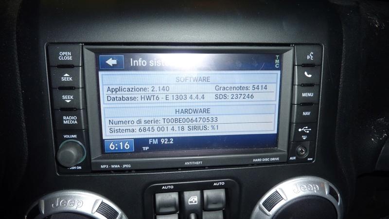 Navigatore su Grand Cherokee Overland 2011 - aggiornamento 09799810