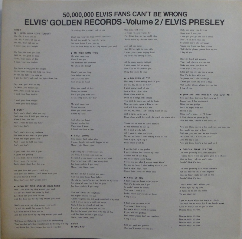ELVIS' GOLDEN RECORDS VOL. 2 1e10