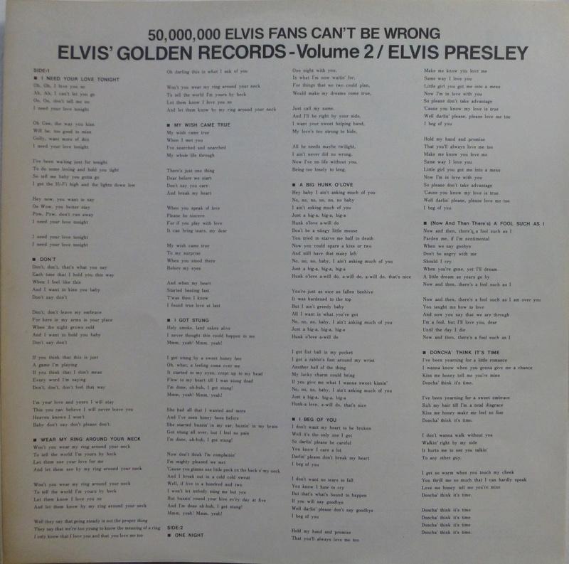 ELVIS' GOLDEN RECORDS VOL. 2 1e10